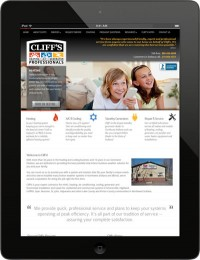 The new Cliff's Heating website is responsive to all types of tablet and mobile devices.